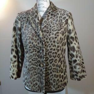 Talbots Animal Print Blazer Jacket Size 12P Lined